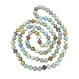 36 Inch 8MM Matte Finish Semi-precious Genuine Amazonite Long Endless Infinity Beaded Strand Necklace.