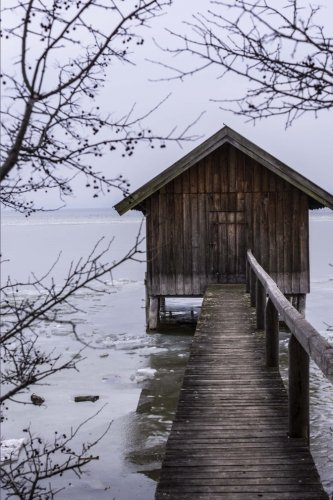 Old Boathouse on an Icy Lake in Winter Journal: 150 Page Lined (Rustic Houses Wall Art)