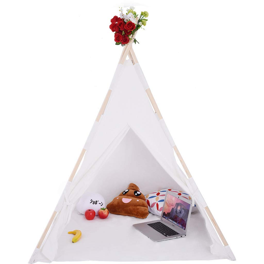 Bieay Teepee Tent for Kids, Foldable Children Play Tent with Two Ventilated Windows for Girl and Boy, White Canvas Playhouse Toy for Indoor and Outdoor Games (White)