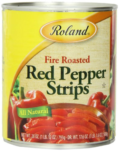 Roland Fire Roasted Peppers, Red Strips, 28 Ounce (Pack of 4)