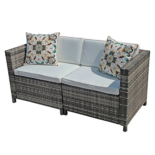 PATIOROMA Loveseat Patio Furniture Sofa All-Weather Grey PE Wicker Furniture with White Back Cushions & Non-slip Seat Cushions| Patio, Backyard, Pool,Indoor|Steel Frame