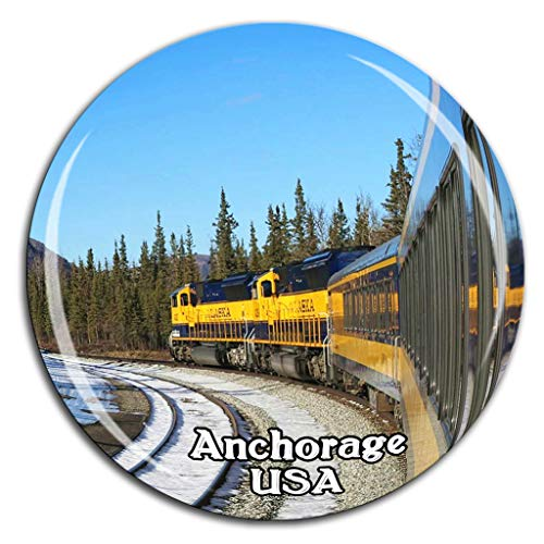 Alaska Railroad Anchorage America USA Fridge Magnet 3D Crystal Glass Tourist City Travel Souvenir Collection Gift Strong Refrigerator Sticker