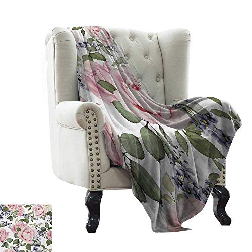 LsWOW Picnic Blanket Rose,Flourishing Pink Roses with Tender Spring Summer Soulful Blossoms Bridal,Pale Pink Green Bluegrey Colorful,Home,Couch,Outdoor,Travel Use 35