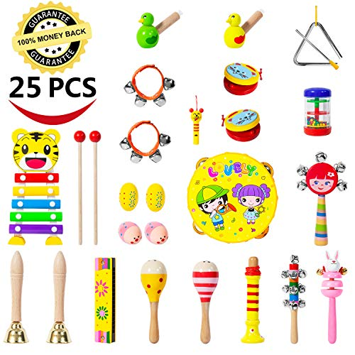 Toddler Musical Instruments-25 PCS 17 Types Wooden Percussion Instruments Toy for Kids Musical Toys for Kids Musical Toys Set for Boys and Girls with Storage Bag ()