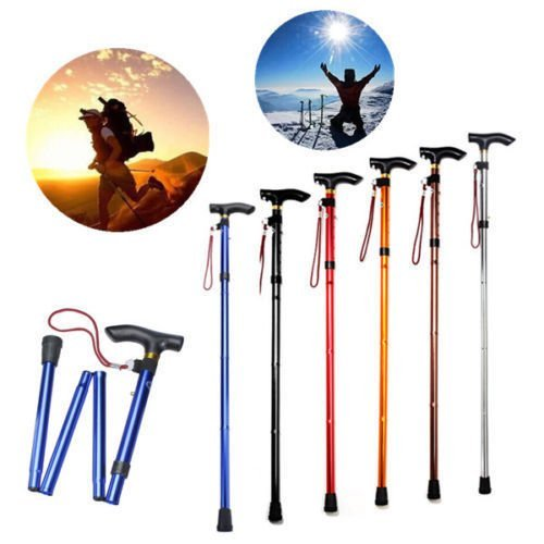 Folding Handle Cane Adjustable Retractable Aluminum Stick Hiking Walking Travel
