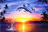 Full Drill 5D DIY Diamond Painting Kit,Dolphin Jumping Out Sea Sunset Embroidery Rhinestone Cross Stitch Arts Craft Canvas Wall Decor