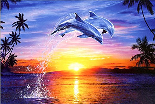 Full Drill 5D DIY Diamond Painting Kit,Dolphin Jumping Out Sea Sunset Embroidery Rhinestone Cross Stitch Arts Craft Canvas Wall Decor by Wendybbons