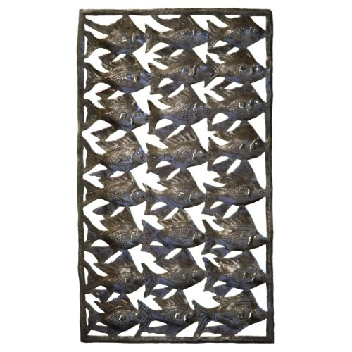 Le Primitif Galleries Haitian Recycled Steel Oil Drum Outdoor Decor, 12 by 20.5-Inch, Fish Panel