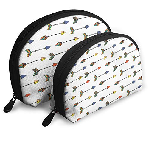 (Shell Shape Makeup Bag Set Portable Purse Travel Cosmetic Pouch,Ethnic Colorful Graphic With Tribal Asian Hand Drawn Arrow Retro Native Apache Folk,Women Toiletry Clutch)