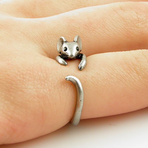 Boho Chic Vintage Silver Brass Knuckle Adjustable Mouse Animal Wrap Weeding ()