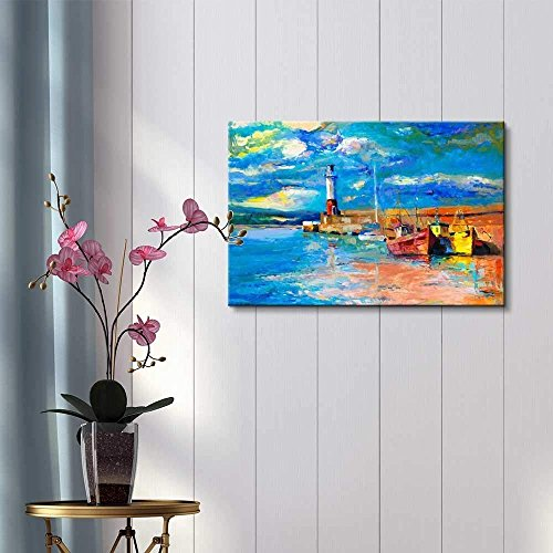 Original Oil Painting Lighthouse Boats Rich Golden Sunset Over Ocean