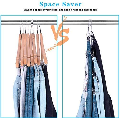 LT Nichalo Space Saving Skirt Hangers with Adjustable Clips 4 Pack 4-on-1 Durable Metal Pants Hangers with 360 Degree Rotating Chrome Hook
