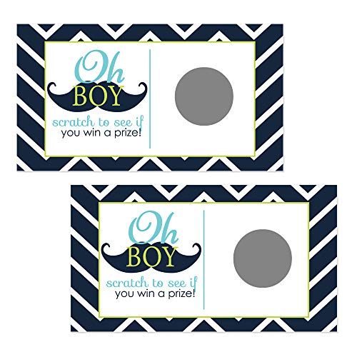 Mustache Scratch Off Games for Boys Baby Shower Navy Chevron and Lime Set of 28 Cards