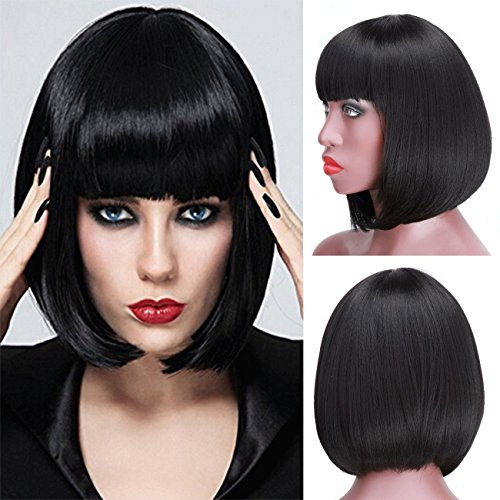 Short Bob Synthetic Wigs for Black Woman Kinky Straight Firber Hair None Lace Wigs with Bang Machine Made Synthetic Wigs 10 (Halloween Costumes Brooklyn Heights)