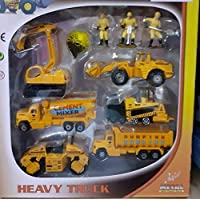 Gift Paradize DIE CAST Metal Play Set - Perfect Toy Set for Kids (Big Construction Set - 6 PC Set and 3 Real Hero Figure )