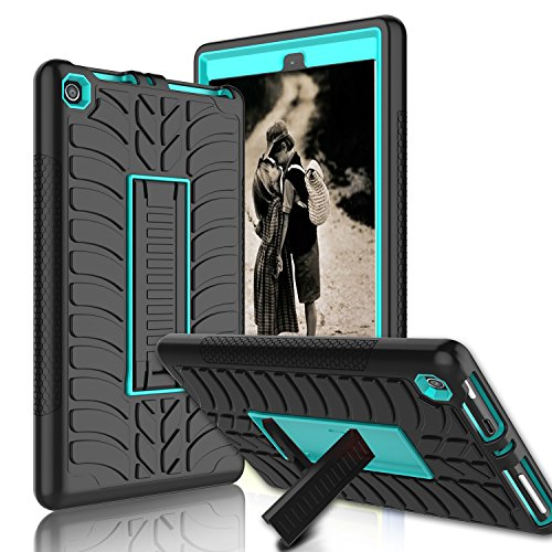 Kindle Fire 8 2017 Case, New Fire HD 8 Case, Zenic Three Layer Heavy Duty Shockproof Full-body Protective Hybrid Case Cover With Kickstand for Kindle Fire 8 2017 / All-New Fire HD 8 (Blue/Black-1)