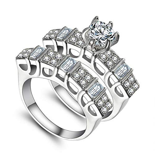 Wausa Luxurious White Sapphire Silver Ring Bridal Women Jewelry Valentines Day Gift | Model RNG - 22083 | 7#