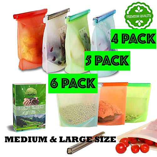 Gadgetsology Reusable Silicone Food Bags Eco-Friendly Meal Container, Airtight, Leakproof, Ziplock Seal for Hot or Cold Food Storage Washable, FDA Approved No BPA Container