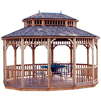 Handy Home Products Monterey Oval Gazebo, 10 x 14 Feet, Brown