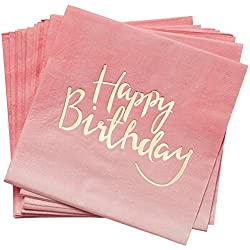 Ginger Ray PM-908 Pick And Mix Foiled Pink Ombre Happy Birthday Party Paper Napkins (20 Pack), Gold