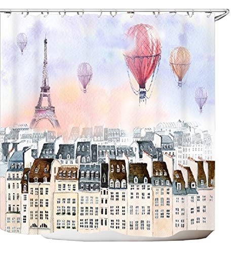 - Get Orange watercolour Paris Eiffel Tower with multicolor hot air balloon waterproof Polyester Fabric Bathroom Shower Curtain 72X72 Inch