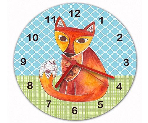 tigerlilyprints Fox Clock,Quiet Clock,Kids Clock,Nursery Clock