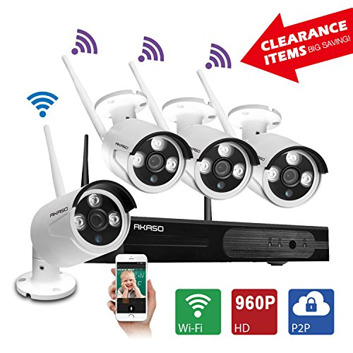 [Better Than 720P]AKASO Wireless Security Camera System Wifi Video Surveillance NVR Kits, 4CH 960P(1280 x 960), Plug&Play, P2P, Night Vision 65ft, Built-in Router, IP66 Weatherproof NO HDD (WS13M-401) (Wireless Router Ratings)