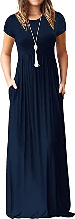 DEARCASE Women Short Sleeve Loose Plain Maxi Dresses Casual Long Dresses with Pockets