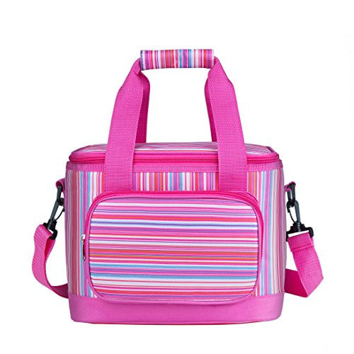 Large Lunch Bags for Women Men,Reusable Insulated Lunch Box with Straps for Adults Use for Work,School,Picnic,On The Go (13L, Pink)
