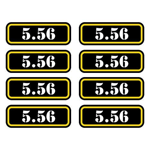 (8X) 5.56 Ammo Can Sticker Set Decal Molon Labe Bullet 556 Type 2 Vinyl Made in USA