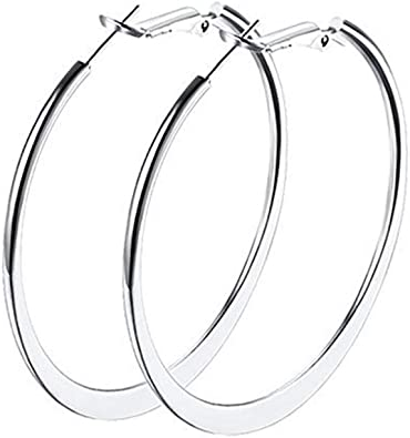 Women Girls Fashion Earrings Hypoallergenic Polished Double Circles Hoop Earrings Gold Plated 45mm