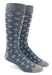 Textured Diamonds Blue Cotton Blend Dress Socks