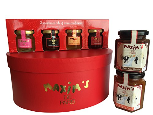 Maxim's de Paris Gourmet French Jams (6 products) Gift basket Hat box 52.7oz 1.49Kg