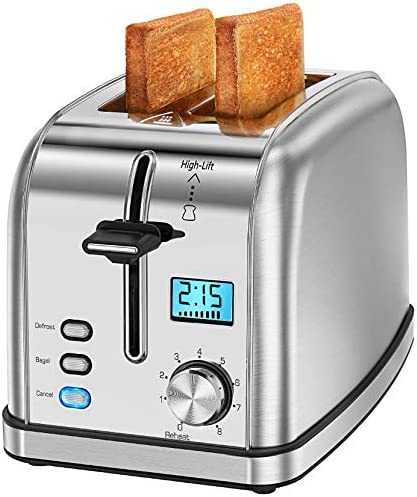 Homasy Toaster 2 Slices 8 Toast Settings, Slide-Out Crumb Tray, 2 Slice Extra Wide Slots for Bagels Waffles