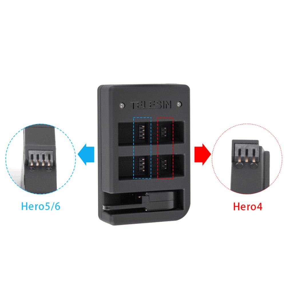 Charging 2 Batteries and 1 Wireless Remote Controller TELESIN New Arrival Multi-functional Battery and Remote Charger for GoPro HERO 6//5,Hero 4 Silver,Hero 4 Black Cameras