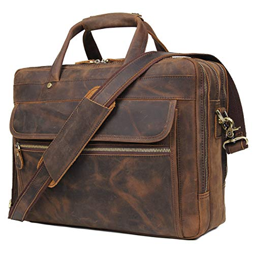 Augus Leather Briefcase for Men Business Travel Messenger Bags 15.6 Inch Laptop Bag YKK Metal Zipper, Brown