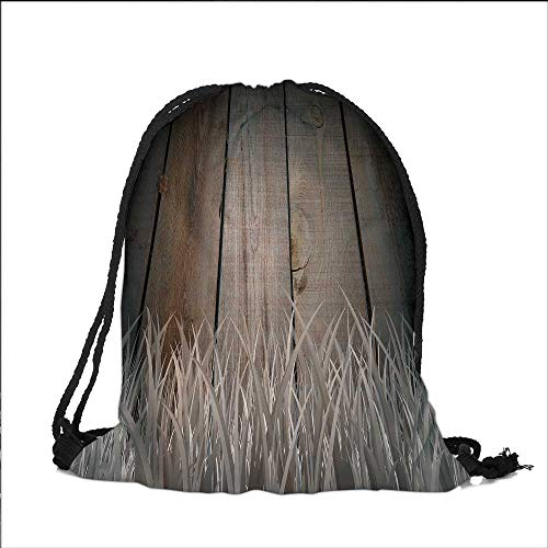 Pocket Drawstring Bag Antique Old Planks American Style Western Rustic Wooden with thick growth of grass Backpack Student Bag 15