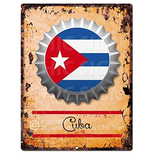 Chic Sign COUNTRY CUBA Flag Bottle Cap Rustic Vintage Retro Kitchen Bar Pub Coffee Shop Wall Decor 9