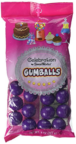 Sweetworks Celebration Candy Gumballs Bag, 8 oz, Dark Purple