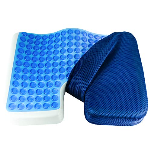 (Galashield Coccyx Cushion Cool Gel Seat Cushion Memory Foam Pillow Orthopedic Tailbone and Sciatica Pain Relief with Mesh Cover Great for Office Car Seat and Wheelchair)