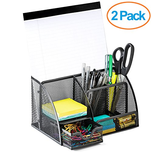 Halter Steel Mesh Desk Organizer Supply Caddy with 6 Compartments And 1 Drawer - Black (2 Pack) (Drawer 1)