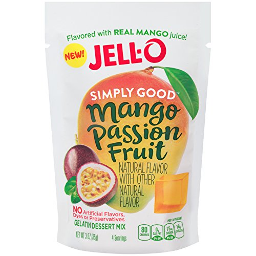 Jell O Simply Good Gelatin Dessert Mix  Mango Passion Fruit  3 0 Ounce Pack Of 12