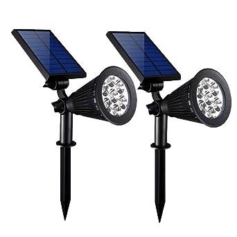Luces solares 2-en-1 Impermeable 7 LED Proyector ajustable Aplique ...