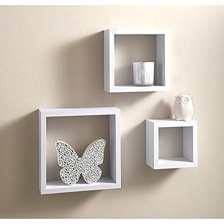 Superb Home Decor 3 Cube Floating Wall Shelf Shelves Space Storage   White