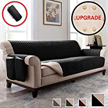 Vailge Oversized Sofa Covers, Durable Sofa Slipover with Back Non-Slip Dots,Machine Washable Sofa Covers for Dogs, Children, Pets(Sofa Oversize:Black)