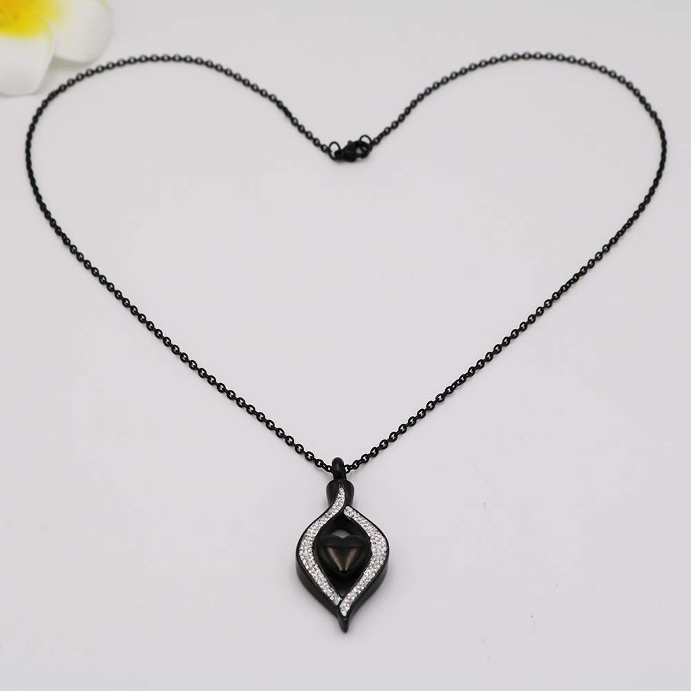 AIWENXI Cremation Necklace Memorial Jewelry Stainless Steel Crystal Pendant Locket Keepsake Urn Necklace for Ashes