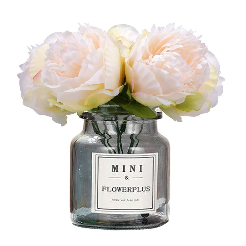 MEIBEL silk plastic peony flowers 5 Heads white Artificial Fake Flowers Bouquet desk plant for office decor