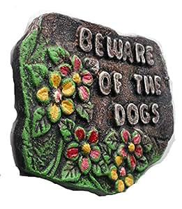 Cuidado con el perro. Placa de pared resina. Puerta de jardín muestra