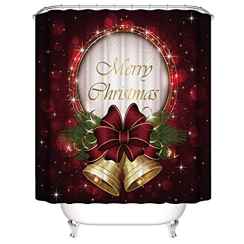 Muuyi Christmas Bell Shower Curtain Set, Merry Christmas Themed House Decor Popular New Year Ornaments and Jingle Bell, Polyester Fabric Bathroom Shower Curtain Set with Hooks - 72×72 inches ()