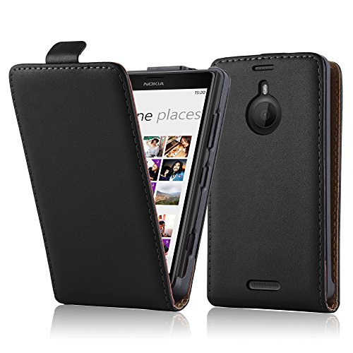 Cadorabo Case works with Nokia Lumia 1520 in CAVIAR BLACK (Design FLIP SMOOTH) – with 2 Card Slots – Case Etui Cover Pouch PU Leather Flip